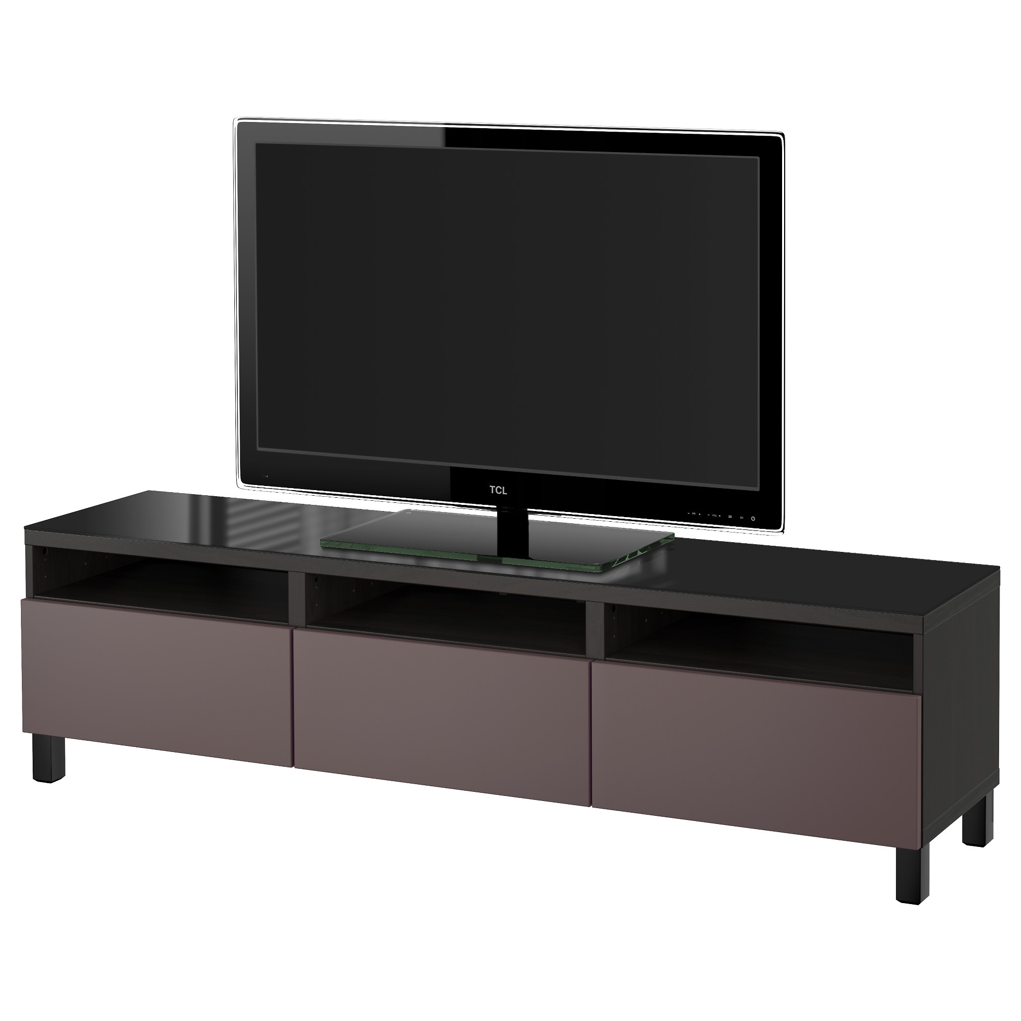 Best Tv Unit With Drawers Black Brown Selsviken High Gloss  # Meuble Tv Avec Support Tv