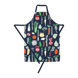 GULDLÖK apron, dark blue, vegetables