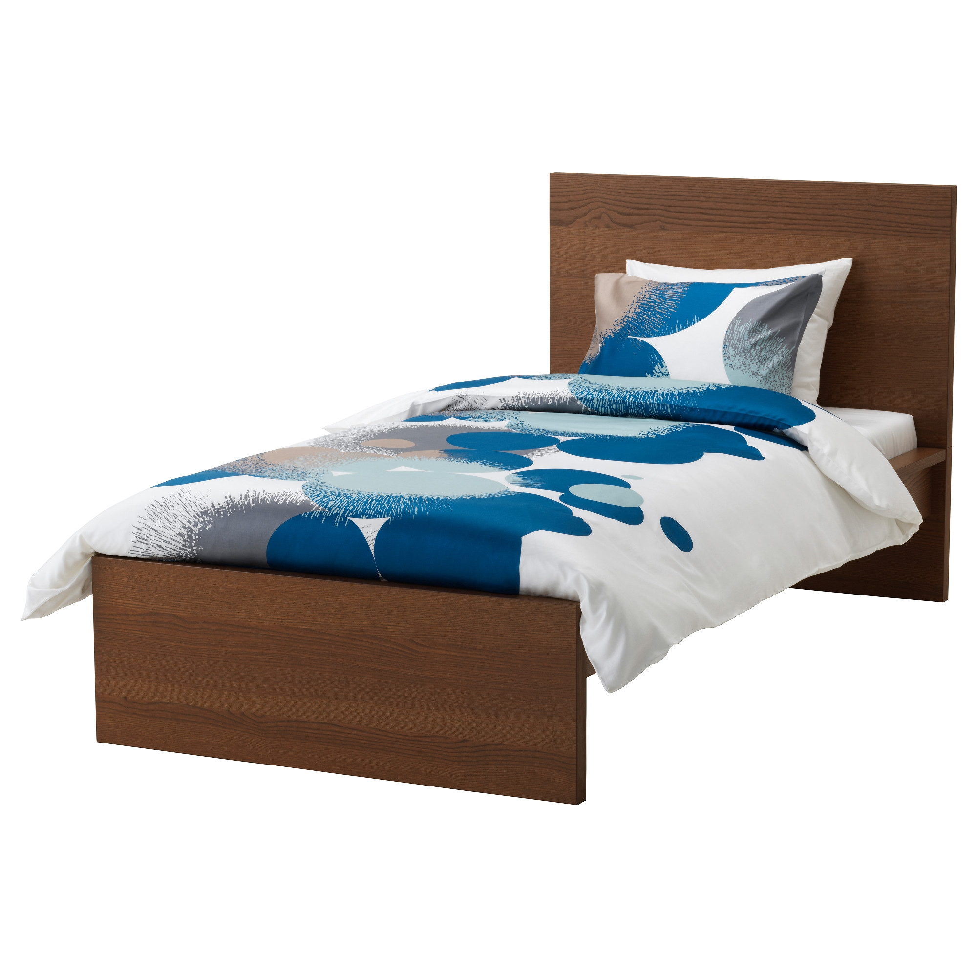 MALM Bed frame, high - Luröy, brown stained ash veneer - IKEA