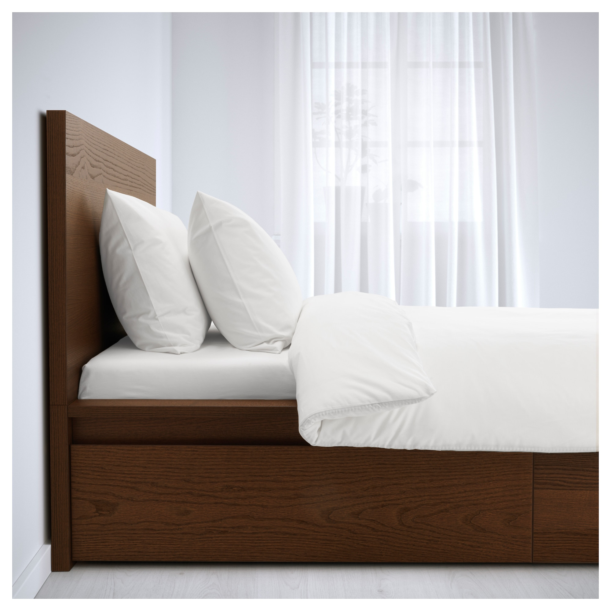 MALM High bed frame 2 storage boxes brown stained ash veneer