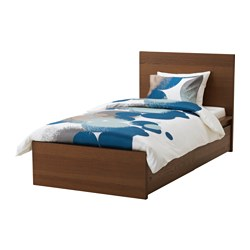 MALM bed frame, high, w 2 storage boxes, Leirsund, brown stained ash veneer Length: 209 cm Width: 106 cm Footboard height: 38 cm
