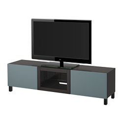 BESTÅ TV bench with drawers and door, black-brown, Valviken grey-turquoise clear glass Width: 180 cm Depth: 40 cm Height: 48 cm