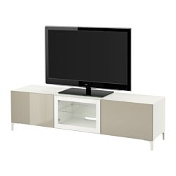 "BESTÅ TV unit with drawers and door, Selsviken high gloss/beige clear glass, white Width: 70 7/8 "" Depth: 15 3/4 "" Height: 18 7/8 "" Width: 180 cm Depth: 40 cm Height: 48 cm"