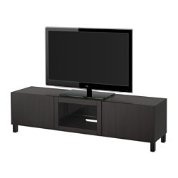 "BESTÅ TV unit with drawers and door, Lappviken black-brown clear glass Width: 70 7/8 "" Depth: 15 3/4 "" Height: 18 7/8 "" Width: 180 cm Depth: 40 cm Height: 48 cm"