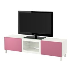 BESTÅ TV bench with drawers and door, Lappviken pink, Sindvik white