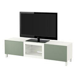 BESTÅ TV bench with drawers and door, Sindvik white, Lappviken green Width: 180 cm Depth: 40 cm Height: 48 cm