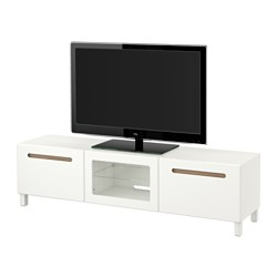 "BESTÅ TV unit with drawers and door, Marviken white clear glass, white Width: 70 7/8 "" Depth: 15 3/4 "" Height: 18 7/8 "" Width: 180 cm Depth: 40 cm Height: 48 cm"
