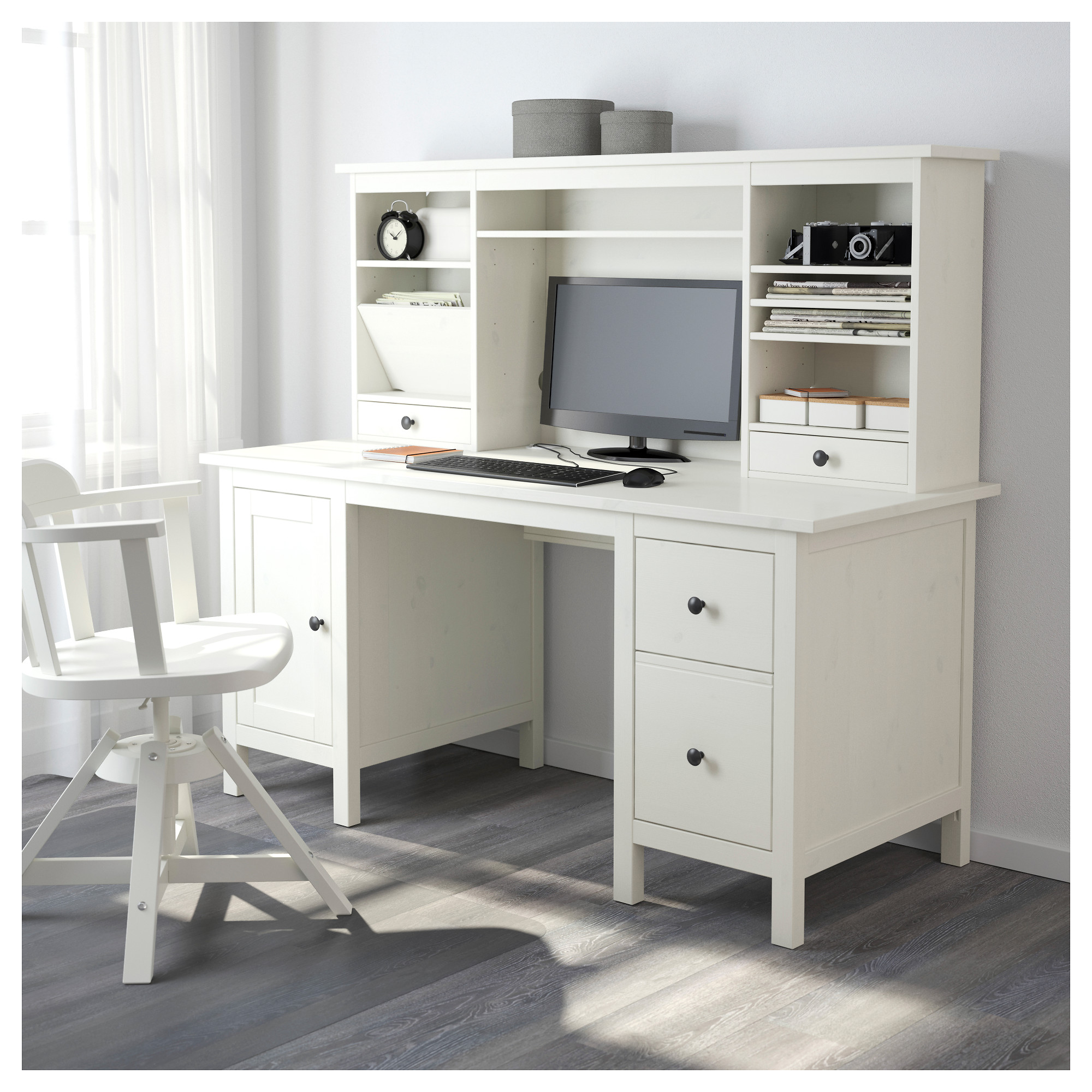HEMNES Desk with add-on unit - white stain - IKEA