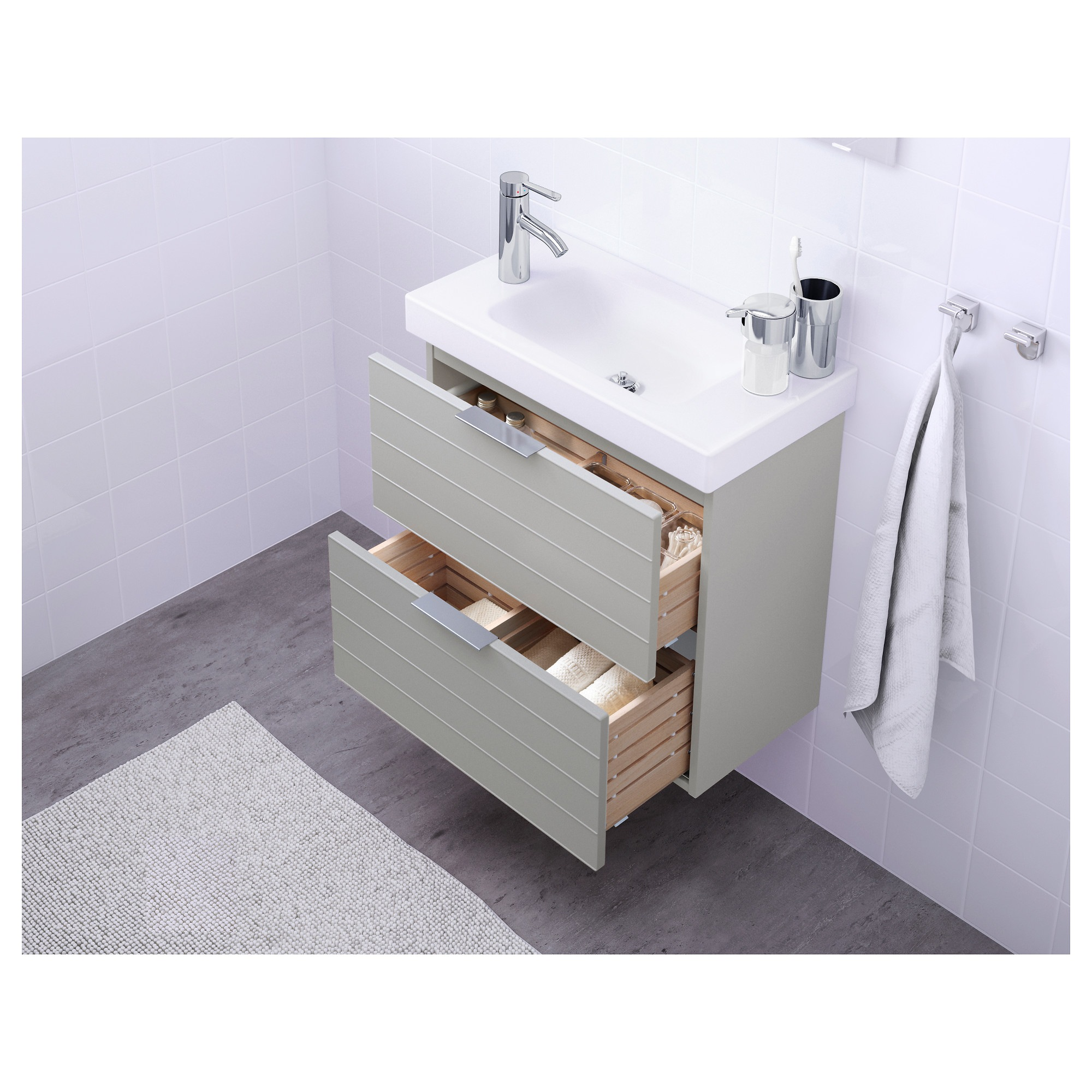 GODMORGON Sink cabinet with 2 drawers high gloss white 39 3