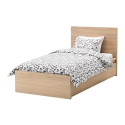 MALM bed frame, high, w 2 storage boxes, white stained oak veneer Length: 209 cm Width: 106 cm Footboard height: 38 cm