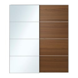 Attractive AULI / ILSENG Pair Of Sliding Doors, Mirror Glass, Brown Stained Ash Veneer  Width