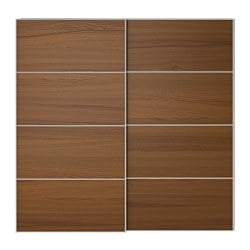 ILSENG Pair Of Sliding Doors, Brown Stained Ash Veneer