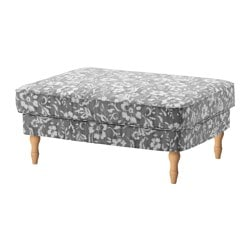 STOCKSUND footstool cover, Hovsten gray/white