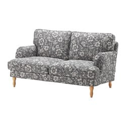 STOCKSUND, Loveseat, Hovsten gray/white, light brown/wood