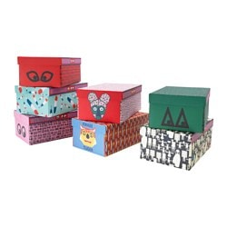 GLÖDANDE box with lid, assorted patterns Width: 27 cm Depth: 43 cm Height: 18 cm
