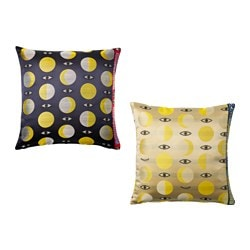 GLÖDANDE cushion cover, blue assorted patterns, yellow Length: 50 cm Width: 50 cm