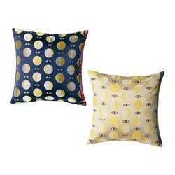 "GLÖDANDE cushion cover, blue assorted patterns, yellow Length: 26 "" Width: 26 "" Length: 65 cm Width: 65 cm"