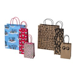 GLÖDANDE gift bag, set of 3, assorted patterns
