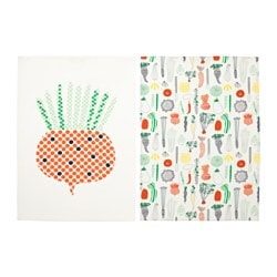GULDLÖK tea towel, white, vegetables Length: 50 cm Width: 70 cm Package quantity: 2 pack