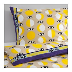 "GLÖDANDE duvet cover and pillowcase(s), yellow Duvet cover length: 86 "" Duvet cover width: 64 "" Pillowcase length: 20 "" Duvet cover length: 218 cm Duvet cover width: 162 cm Pillowcase length: 51 cm"