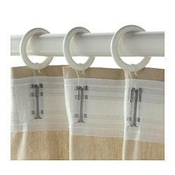 PORTION curtain ring with clip and hook, white stained