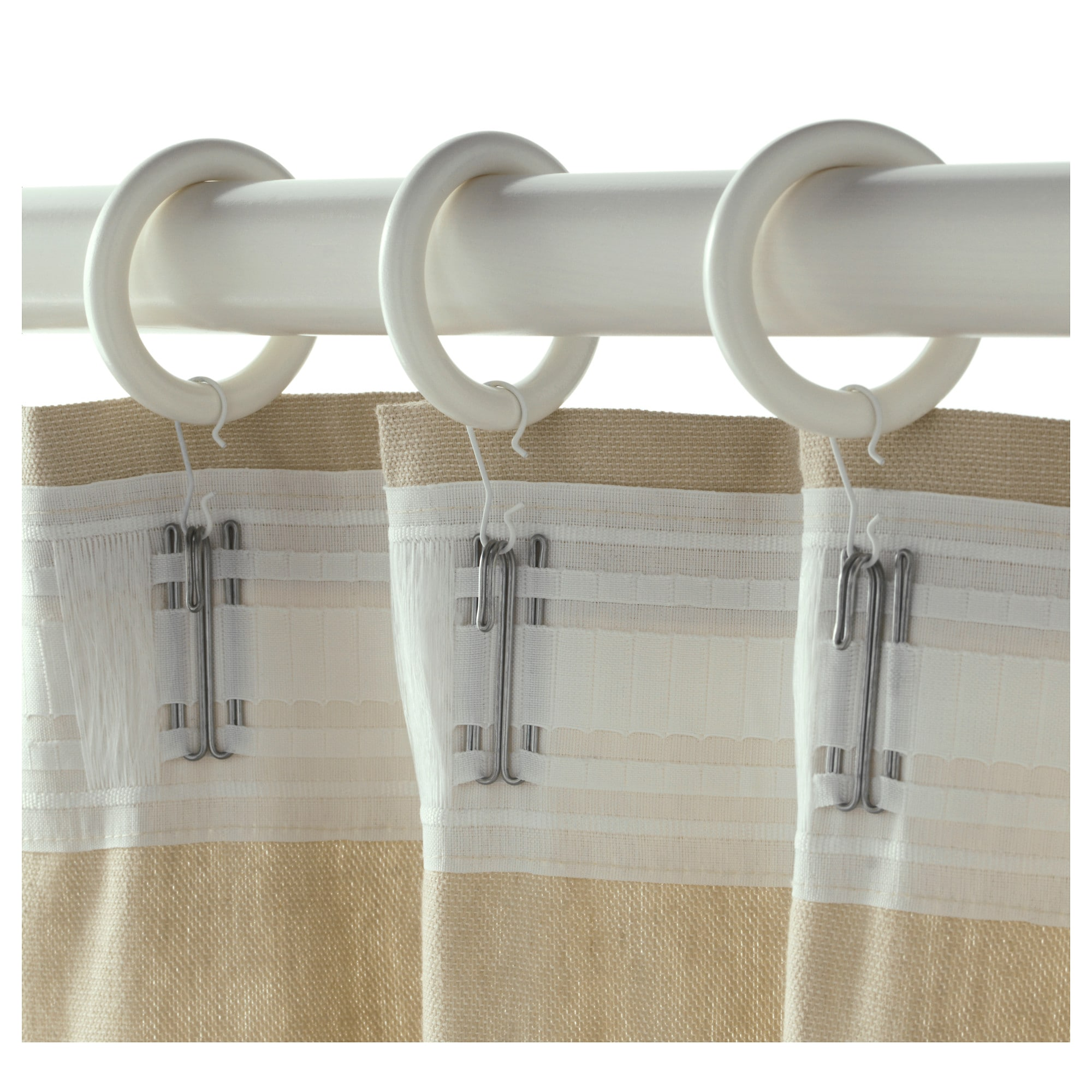 Ikea curtains kvartal - Portion Curtain Ring With Clip And Hook White Stained Diameter 1 7 8
