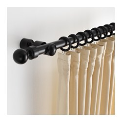 PORTION curtain rod set, black stained Length: 210 cm Max. load: 20 kg