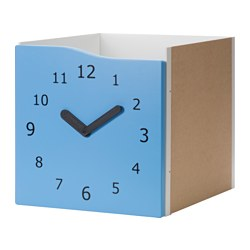 KALLAX insert with door, blue, clock decoration clock Width: 33 cm Depth: 37 cm Height: 33 cm