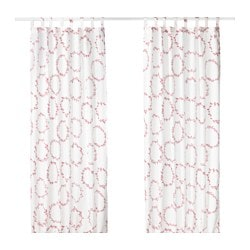 VINTER 2016 curtains, 1 pair, white/red Length: 250 cm Width: 145 cm Weight: 0.69 kg