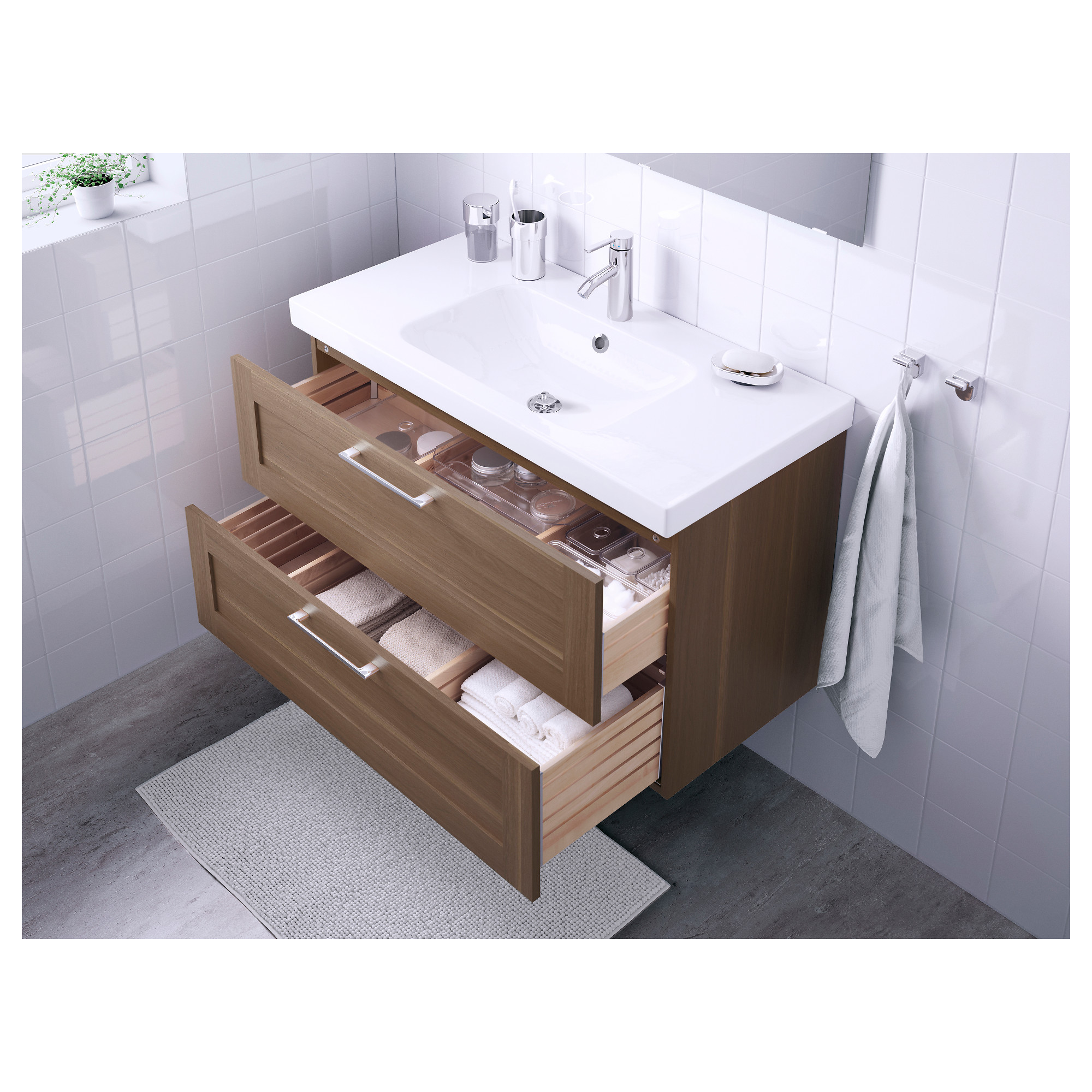 godmorgon / odensvik sink cabinet with  drawers  walnut effect, Bathroom decor