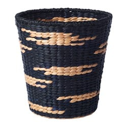 VIKTIGT basket, natural, black Diameter: 36 cm Height: 37 cm