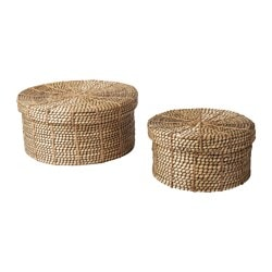 VIKTIGT basket with lid, set of 2, natural, black