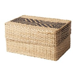 VIKTIGT basket with lid, black, natural Width: 30 cm Depth: 20 cm Height: 16 cm