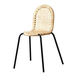 VIKTIGT chair, black, rattan Tested for: 100 kg Width: 48 cm Depth: 46 cm