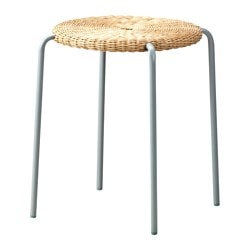 "VIKTIGT stool, rattan, gray Tested for: 220 lb Seat diameter: 14 5/8 "" Width: 19 5/8 "" Tested for: 100 kg Seat diameter: 37 cm Width: 50 cm"