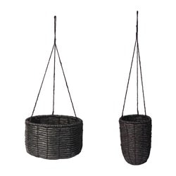VIKTIGT hanging planter, set of 2, black