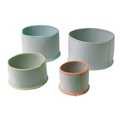 KNATTING, Basket, set of 4, light gray