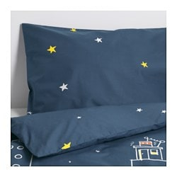 "HEMMAHOS duvet cover and pillowcase(s), dark blue Thread count: 144 square inches Duvet cover length: 86 "" Duvet cover width: 64 "" Thread count: 144 square inches Duvet cover length: 218 cm Duvet cover width: 162 cm"