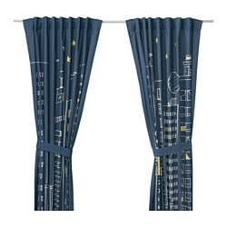 HEMMAHOS curtains with tie-backs, 1 pair, dark blue Length: 300 cm Width: 120 cm