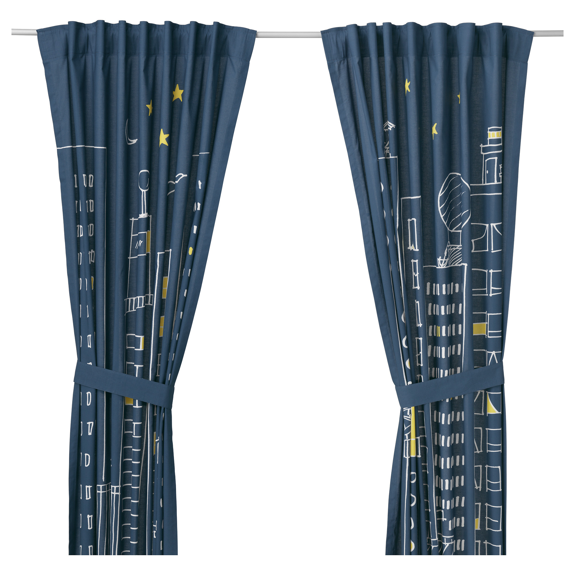 Beaded door curtains for kids - Hemmahos Curtains With Tie Backs 1 Pair Dark Blue Length 98