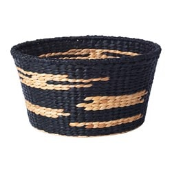 "VIKTIGT basket, black, natural Diameter: 19 ¾ "" Height: 10 ¼ "" Diameter: 50 cm Height: 26 cm"