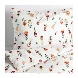 "ROSENFIBBLA duvet cover and pillowcase(s), white, floral patterned Thread count: 144 /inch² Pillowcase quantity: 1 pack Duvet cover length: 86 "" Thread count: 144 /inch² Pillowcase quantity: 1 pack Duvet cover length: 218 cm"