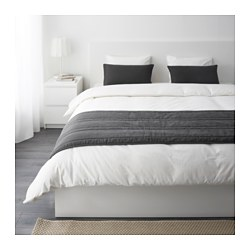 GULLREGN bed runner och 2 cushion covers, grey Bed runner lenght: 260 cm Bed runner width: 65 cm Cushion cover length: 40 cm