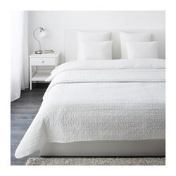 ALINA bedspread and 2 cushion covers, white