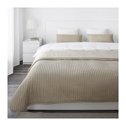 "KARIT bedspread and 2 cushion covers, beige Bedspread length: 110 "" Bedspread width: 102 "" Cushion cover length: 16 "" Bedspread length: 280 cm Bedspread width: 260 cm Cushion cover length: 40 cm"