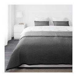 KARIT bedspread and 2 cushion covers, gray