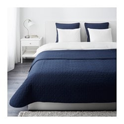 ALINA bedspread and 2 cushion covers, blue Bedspread length: 280 cm Bedspread width: 260 cm Cushion cover length: 65 cm