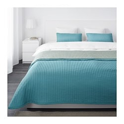 KARIT, Bedspread and 2 cushion covers, turquoise