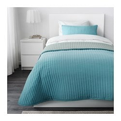 KARIT bedspread and cushion cover, turquoise Bedspread length: 280 cm Bedspread width: 180 cm Cushion cover length: 40 cm