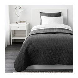ALINA bedspread and cushion cover, dark grey Bedspread length: 280 cm Bedspread width: 180 cm Cushion cover length: 65 cm